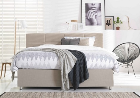 Optisleep_boxspring_topper _5000_gestikt -stof -beige -naturel -litsjumaux_bed,matras, hoorn