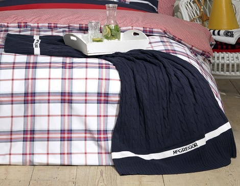 Plaid mcGregor blauw,kabelpatroon,50 procent korting