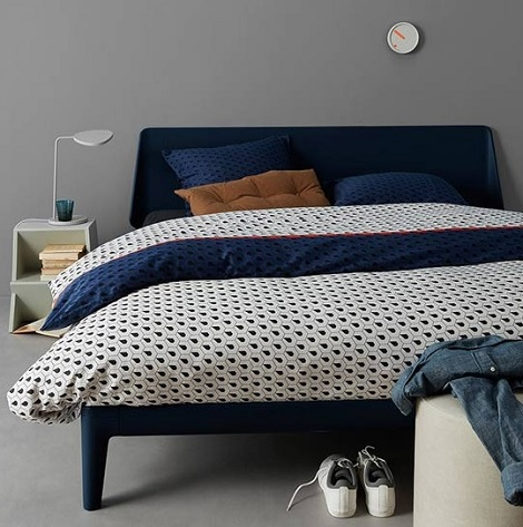 Auping Osaka overtrek satijn,Japans,blauw,wit,off-white,rood,design,Essential bed, donkerblauw