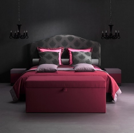 Boxspring opruiming showroom,barok,medallion,zwart,klassiek,180x210cm,sprei,kussens,hockers,lila,rose
