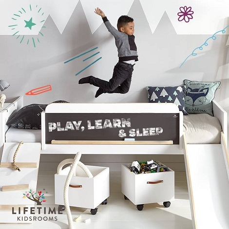 Lifetime actie kinderbed,LIMITED EDITION bed, Play, Learn , Sleep,glijbaan,trap,touw,schoolbord,dealer theo bot