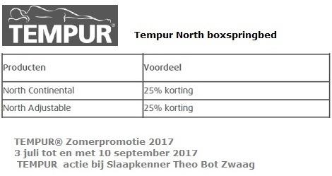 Tempur actie  25 procent korting boxspring  North Continental,Adjustable Zomer sale tot 10 september 2017