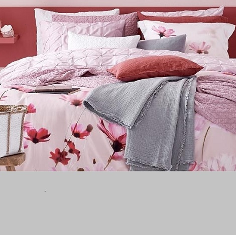 vandyck Genltly  overtrek,bloemen, satijn powder,rose,sprei,plaid,steel grey,grijs,Pure 8, Pure 10 sepia pink,katoen