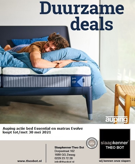 auping actie duurzame deals evolve matras, essential bed tot 30 mei 2021