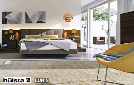 Hulsta Lunis boxspring leer met multivaris commode, ladekast, noten kleur, hout, naturel met lak wit, wit laque,dealer theo bot
