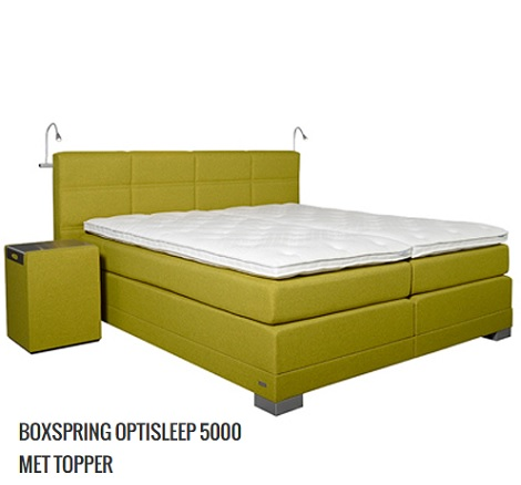 Optisleep_5000_geblokt_boxspring_hocker_bedlamp_dienblad_lime_groen_hoorn